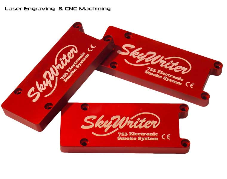 CNC machined , red anodized aluminum covers with laser engraving